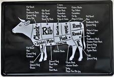 Signo de pared de Metal Retro Estaño cortes de carne Cocina barbacoa De Vaca Vintage Regalo Papá Carnicero