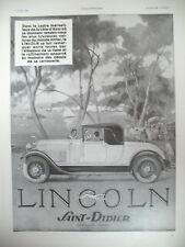 PUBLICITE DE PRESSE LINCOLN AUTOMOBILE LUXUEUSE COTE D'AZUR FRENCH AD 1930