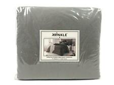 Cathay Home Washed Crinkle 3 Piece King Duvet Cover Set Driftwood Grey $115