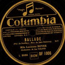 LUCIENNE BOYER -CHANSON- Ballade / Landerirette    Schellackplatte 78rpm  S6698