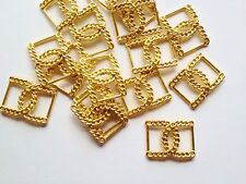 10 GOLD TONE METAL BUCKLE CLASPS 38mm x 28mm