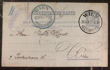 1891 Vienna Austria Pneumatic Postal Stationary Postcard Cover Locally Used