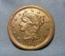 1853 Large Cent, Braided Hair Large Cent