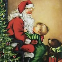 Vintage Mid Century Christmas Greeting Card Santa Claus With Cute Baby Boy Tree