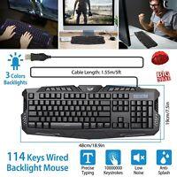 USB PC Gaming keyboard 114 key Mechanical Feel LED light Backlit Color Change