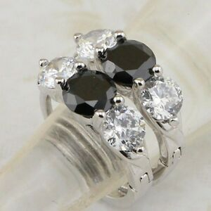Nice Black & White Three Stone CZ Jewelry Gold Filled Huggie Lady Earrings H1815