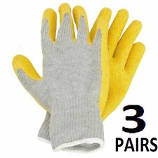 Rubber Coated Work Gloves Latex Palm  3 Pairs