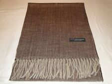 100% Cashmere Scarf 72X12 Brown Tweed Herringbone Scottish Wool Check Plaid Men
