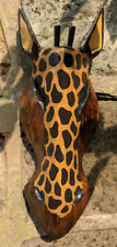 Giraffe Mask Wooden Wall Hanging Hand Carved  30cm