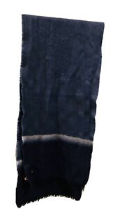 SCARF VINTAGE AUTHENTIC OMBRE COLORS BLUE white Navy merino WOOL MEN'S