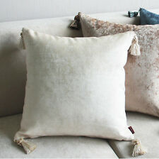 2 x Luxury Chenille European Cushion Cover Pillow Case Tassel 60 x 60 cm- Cream