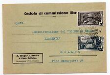 STORIA POSTALE 1950 REPUBBLICA LIRE 2 + 5 LAVORO SU CEDOLA LIBRARIA D 07280
