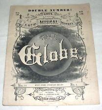 Original August 1874  THE MUSICAL GLOBE  music book, Literature, Art, Drama