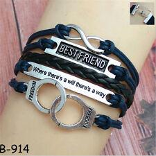 Wholesale Men Women Hot Cuff Wrap Bangle Friendship Infinity PU Leather Bracelet