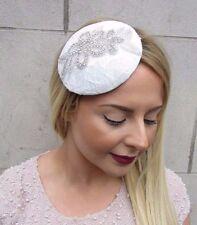 White Silver Diamante Lace Bridal Hat Fascinator Pillbox Hair Clip Vintage 2865