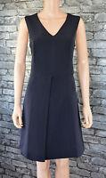 New Women's Elegant Tailored Navy Blue Sleeveless Pencil Dress Uk Size 10