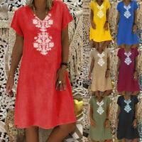 Women's Summer Cotton And Linen T-shirt Cotton Casual Plus Size Ladies Dress