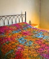 Tie Dye ELEPHANT mandala print cotton Indian double bed spread hanging throw