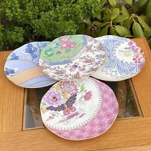 Wedgwood Tea Story Butterfly Bloom Set Of 4 20cm Side Plates - Unused & 1st Qual
