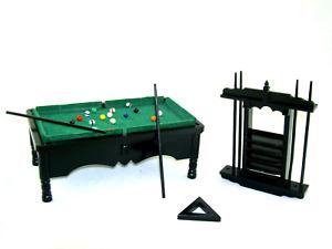 Casa de Muñecas Negro Piscina Billar Mesa Miniatura Estudio Pub Muebles