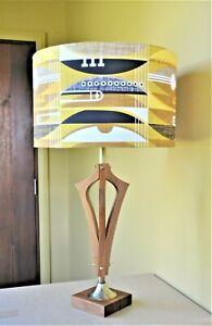 Danish retro groovy Mid Century 'Gaebord' teak table lamp with new bespoke shade