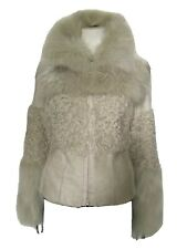 PINKO Cream Curly Lambswool Long Sleeved Zipped Front Fur Short Coat It 42 UK 10