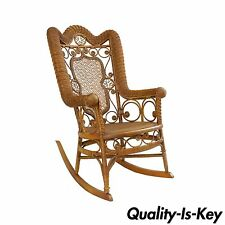 Antique Fancy Victorian Wicker Rocking Chair Heywood Wakefield Style Wood Ornate