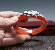 Old Tibet silver Dragon Phoenix Hand-carved red jade wide bracelet