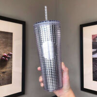 2021 China Starbucks Silver Glitter Grid Ball 24oz Studded Tumbler Straw Cup