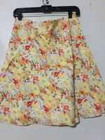 Express 100% Cotton Floral Yellow Orange Lined Skirt Women Size 4 Stylish