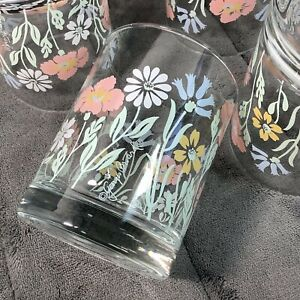 4 Georges Briard FLORAL FANTASY Double Old Fashioned Rocks Glasses Rare Pastels