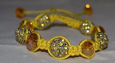 Bracelet, Corded, Crystals, Yellows, Silvers, Adjustable