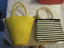 Lot of 2 spring summer purses bags - yellow and black and white striped - NATLOT