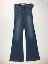 Abercrombie Jeans Wide Flare Distressed Whiskering Lyocell Modal 26x34 2R Tags