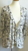 CJ Banks women's 1X Creamy beige brown green floral 3/4 slv lgt cardigan sweater