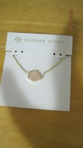Kendra Scott Tess Small Pendant Necklace in Rose Quartz 14K Gold Plated New