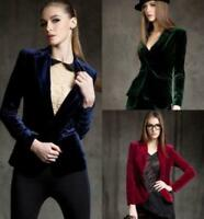 Elegant women's Pleuche velvet Skinny Slim Fit blazer jacket suit casual Coat #