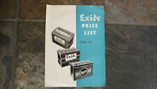 1963 EXIDE CAR BATTERY PRICE LIST SALES BROCHURE