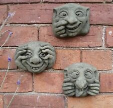 STONE GARDEN SET OF 3 UGLY GARGOYLE / GREMLIN FACE WALL PLAQUES