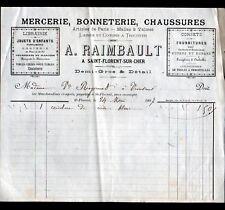 """SAINT-FLORENT-sur-CHER (18) MERCERIE BONNETERIE CHAUSSURES """"A. RAIMBAULT"""" en1897"""
