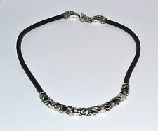 925 STERLING SILVER LEATHER MENS CHAIN - 18 inches / WEIGTH- 38.3 grams