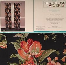 Waverly Bridgewater Floral Onyx Black 2 Panels Drapery Curtains