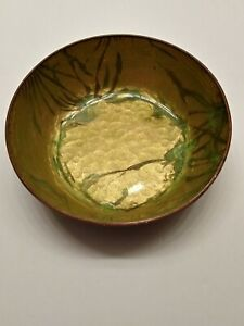 Abstract Enamel on Hammered Copper Bowl Gold Green Patina MCM Early Max Willie