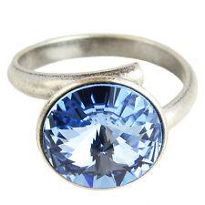 Grevenkämper Ring Silber Swarovski Kristall Rivoli Rund Light Sapphire blau
