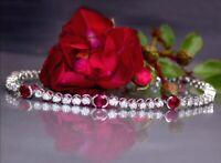 "Vintage 12ct Ruby & White Diamond Tennis Bracelet 14K White Gold Finish 7.25"""