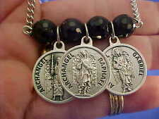 3 Archangel ONYX NECKLACE St Medals Michael Gabriel Raphael Saint Prayers on bk