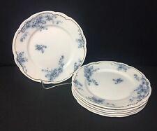 "WH Grindley Flow Blue Marechal Neil Bread & Butter Plates 7"" Gold Trim Set Of 6"