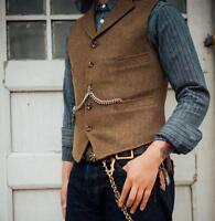 Mens Business Formal Lapel Wool Blend Vest Slim Fit Casual Short Waistcoat Retro
