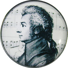 "Crystal Dome Button - Black & White Mozart Profile - 1"" - BW 09 FREE US SHIPPING"