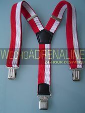 MENS MEN BRACES SUSPENDERS WHITE RED 40 mm!!! CAR OLYMPIC TROUSERS BIKER BRACES